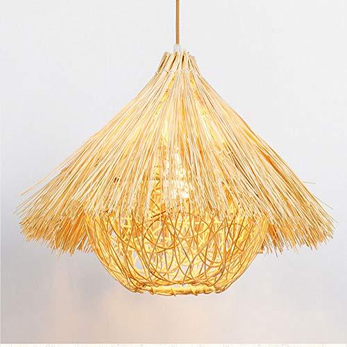 (Candtong Vintage Rattan Straw Chandelier Chandelier, Multi-Function Garden Straw hat Chandelier Lantern Shimmer, Restaurant Art Hanging Chandelier,LED lamp (Color : White Light, Size : 40cm))
