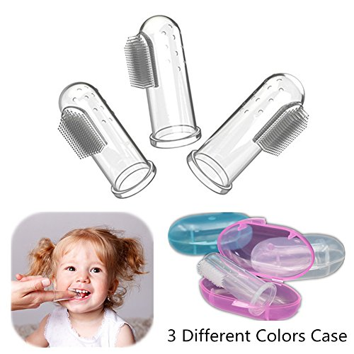 - Mukin Baby Finger Toothbrush by Set of 3 With Case for Babies & Toddlers, Kids Love Them - Soft Bristles, BPA Free. Train Your Child Healthy Oral.