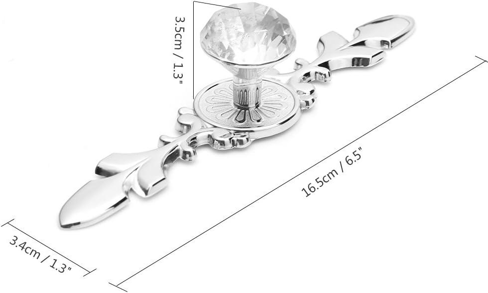 121 mm commode de porte paquet de 2 poign/ée /à tirer boutons de meubles darmoire armoire /à tirer poign/ée de placard tiroir en cristal de diamant TiooDre Bouton de tiroir darmoire