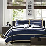 Mi-Zone Ashton Full/Queen Duvet Cover Set Kids Boy - Navy, White, Stripes – 4 Piece Bed Set Cover – Ultra Soft Microfiber Kid Boys Bedding Set