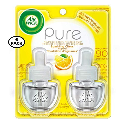 Air Wick Pure Scented Oil Twin Refill, 0.67 oz Each, Sparkling Citrus 2 ea (Pack of 6)