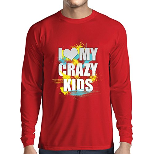 lepni.me Long Sleeve t Shirt Men I Love My Crazy Kids - Unusual Family Gift Ideas (X-Large Red Multi Color)