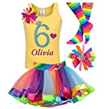 6th Birthday Shirt Rainbow Tutu Girls Party Outfit 4PC Gift Set Personalized Name Age 6