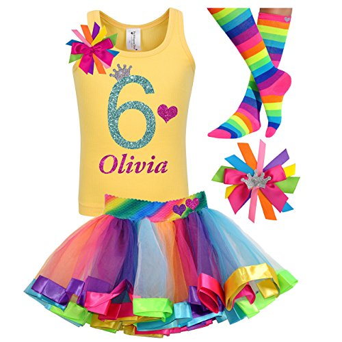 6th Birthday Shirt Rainbow Tutu Girls Party Outfit 4PC Gift Set Personalized Name Age 6 by Bubblegum Divas