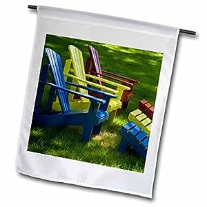 Danita Delimont - Maine - Maine. Adirondack chairs, Mount Desert Island - US20 BTH0005 - Brenda Tharp - 12 x 18 inch Garden Flag (fl_90604_1)