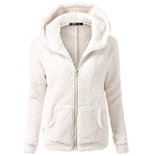 SFE Women Winter Faux Fur Hoodie Cotton Jacket Fashion Solid Color Warm Coat Down Jacket (White, S) ()