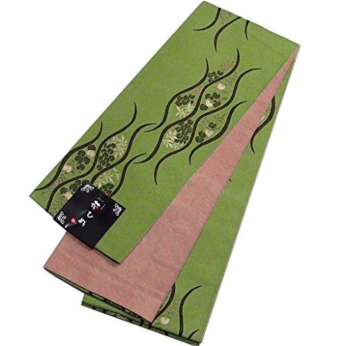 のど想定する風景半幅帯 日本製 洗える帯 半巾帯 藤に立涌柄 ポリエステル