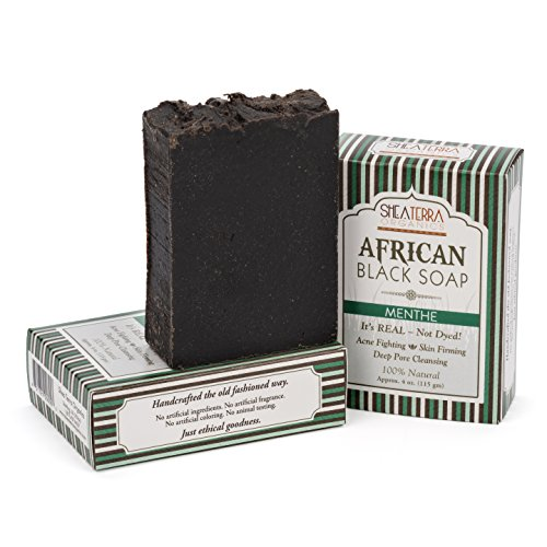 (Shea Terra Organics African Black Soap Bar with Peppermint Oil | Natural Skin Care for Acne, Eczema, Dry Skin, Psoriasis, Wrinkles, and More - Home Spa Treatment Full Body Wash - 3 Pack Gift Set)