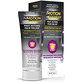 Inmotion Hemp Pain Relief Cream - Fast Acting Topical Analgesic For Arthritis, Tendinitis, Back, Knee, Muscle, Foot, and Elbow Pain - 1.65 Ounce Tube