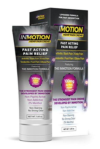 Inmotion Hemp Pain Relief Cream - Fast Acting Topical Analgesic For Arthritis, Tendinitis, Back, Knee, Muscle, Foot, and Elbow Pain - 1.65 Ounce Tube (Analgesic Topical Relief Cream)