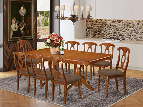 East West Furniture NANA9-SBR-C 9-Pc Dining Set – 8 Dining Room Chairs and Dining Table - Rectangular Table Top…