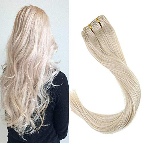 VeSunny Blonde Clip in Remy Hair Extensions Real Human Hair Platinum Blonde Silky Straight Clip in Human Hair Extensions Full Head Set 14inch 7Pcs/120G
