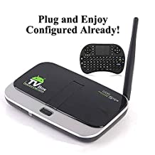 KUKELE Android TV Box with 5.0MP Webcam Camera, Ready to Stream Media Center Player, Wireless Keyboard