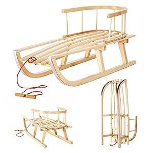 Holzschlitten aus Buchenholz mit Rückenlehne und Zugseil für Kinder...