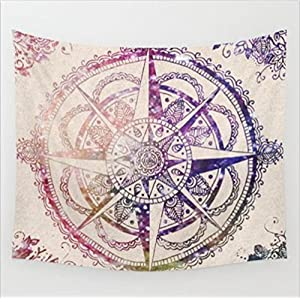 Boho 203CM 153CM Psychedelic Octagonal Round Floral Tapestry Hippy Mandala Gypsy Wall Hanging Sheet Coverlet Picnic blanket Bedspread Curtain Decor Table Couch Cover Beach Yoga Throw L, N
