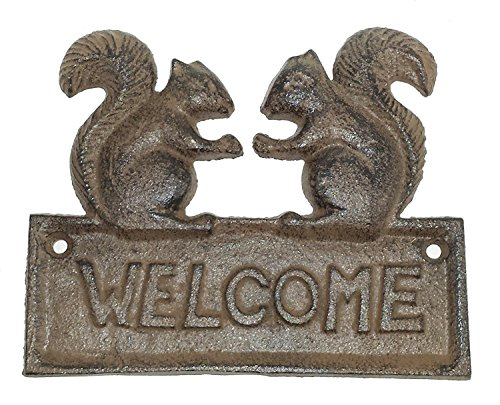JTW- Heavy Cast Iron Rust Antique Style SQUIRREL WELCOME Plaque Sign Rustic Ranch Wall Home Decoration Rust Brown ()