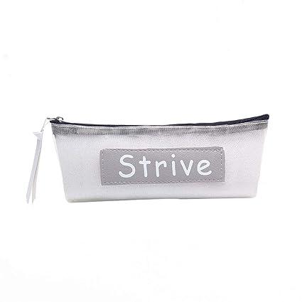 MSYOU - Estuche de malla transparente para lápices, con ...