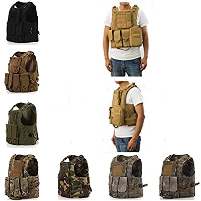 CAMTOA Tactical Vest Combat Molle Assault Military Army Airsoft Tactical SWAT Vest for Police Holster