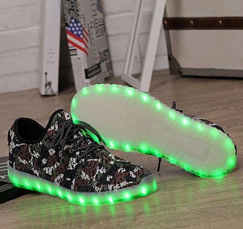 Bininbox Älskande Usb-laddning Ledde 7 Färger Ljus Som Blinkar Gymnastiksko Andningsbara Skor Brun