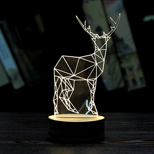 Christmas decorations 3D Led Illusion - 3D Optical Illusion Lights with Acrylic Flat & USB Charger (Christmas elk) (Red Door Revealed compare prices)