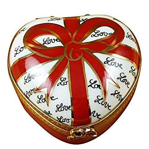 HEART WITH RED BOW & THREE CANDIES - LIMOGES BOX AUTHENTIC PORCELAIN FIGURINE FROM (Limoges Candy)