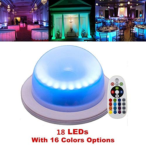 Acmee (Pack of 1) Remote Control LED Under Table 16 Colors Change Wedding Decoration Light, for Parties, Events, Birthdays,RGB Super Bright lamp with 4000 mAh Rechargable Lithium Battery (Outdoor Event Decoration)