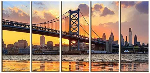 Canvas Art Philadelphia Skyline with Benjamin Franklin Bridge, Wall Art-Prints,Digital Prints-Philadelphia Art,Ben Franklin Bridge. 12x36