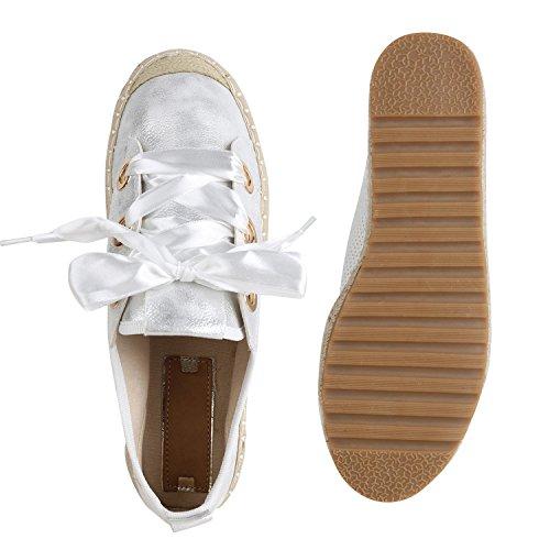 Damen Plateau Sneaker Bast Satinoptik Metallic Freizeit