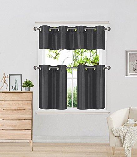 "GorgeousHomeLinen (K7) 3 Piece Kitchen Window Insulated Foam Backing Blackout Grommets Tier Curtain Panels Valance Set 28""x14"" (Charcoal)"