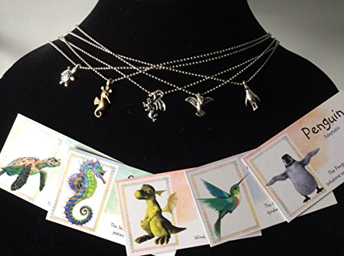 Smiling Wisdom - Girls Tiny Totem Animal Necklace Gift Sets - 5 Spirit Animal Totem Gifts - Penguin, Turtle, Seahorse, Hummingbird, Dragon - Children,Teens, Boys, Team Events, Party Favors, Friends