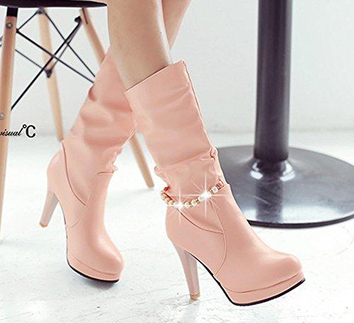 Aisun Donna Elegante Tacco A Spillo Piattaforma Tacco A Spillo Tacco A Spillo Slip On Mid Boots Vitello Scarpe Rosa