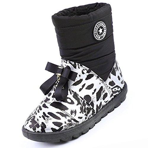 Stivali Black Null stivali Comfort Scarpe rotondo piatto Inverno Nero HSXZ Casual Snow Boots per donna Calf Toe Marrone Mid pu Autunno tacco awf1q