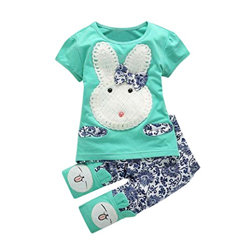 G-real Rabbit Outfits, Toddler Kids Little Girls Cute Cartoon Bunny Bow Applique T-Shirt Tops+Floral Pants (Green, 3T)