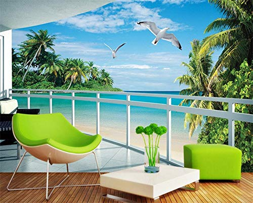 Custom Wallpaper Natural Landscape Sun d sea View Coconut Tree Pigeon Wall Paper Living Room Background 3D wallpaperwall beautification-150X120CM (Coconut Mall-shops)
