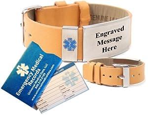Top Grain Leather Medical Alert Identification Bracelet (Incl. 6 lines of custom engraving)