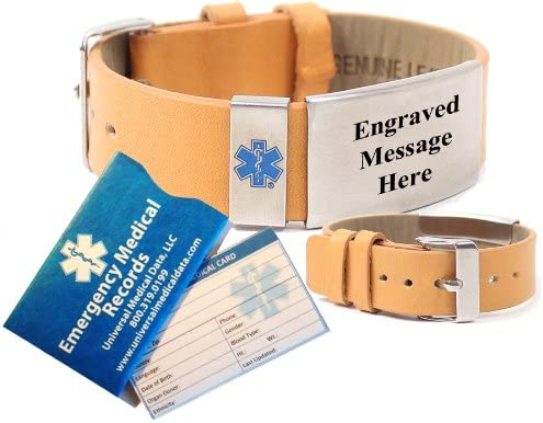 Top Grain Tan Leather Medical Alert Identification Bracelet Incl. 6 lines of custom engraving