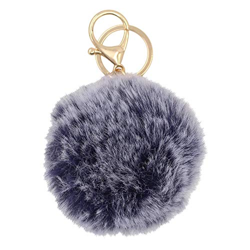 - REAL SIC Pom Pom Keychain - Faux Fur Fluffy Fuzzy Charm For Women & Girls. Fake Rabbit Key Ring for Backpacks, Purses, Bags or Gifts (Heather Blue)
