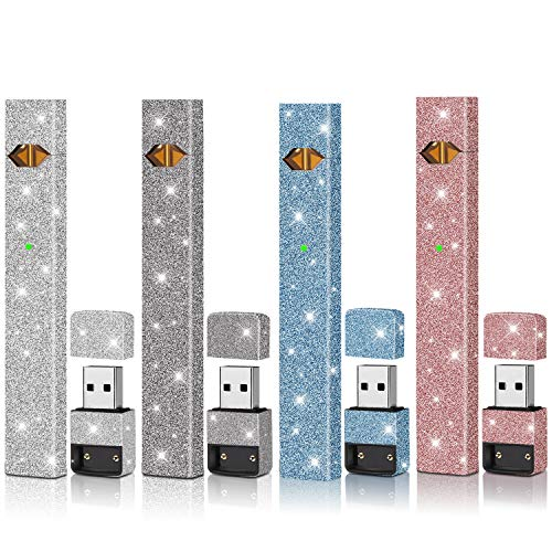 Skin|Sticker|Wrap|Decal Compatible with JUUL(4 Pack)(Rose Red Glitter Silver Glitter Blue Glitte & Black Glitter)(No Device Included) Accessories Fit for JUUL