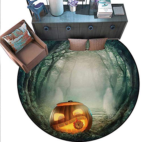 Halloween Non-Slip Round Rugs Drawing Scary Halloween Pumpkin Enchanted Forest Mystic Twilight Party Art Living Dinning Room Bedroom Rugs (59