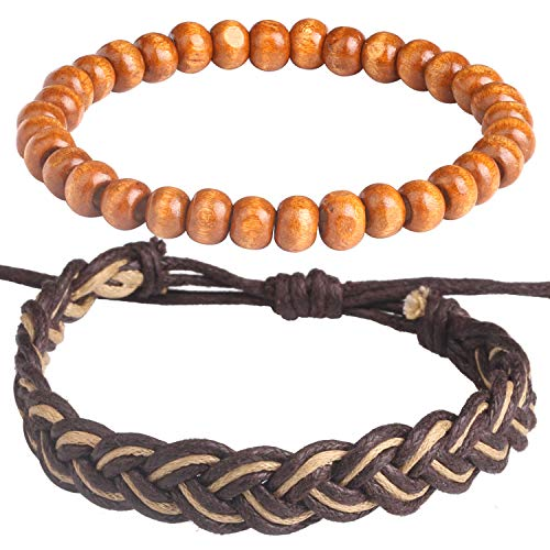 Wrap Bead Tribal Leather Woven Stretch Bracelet - 2 Pcs Boho Hemp Linen String Bracelet for Men Women Girls Mother's Day