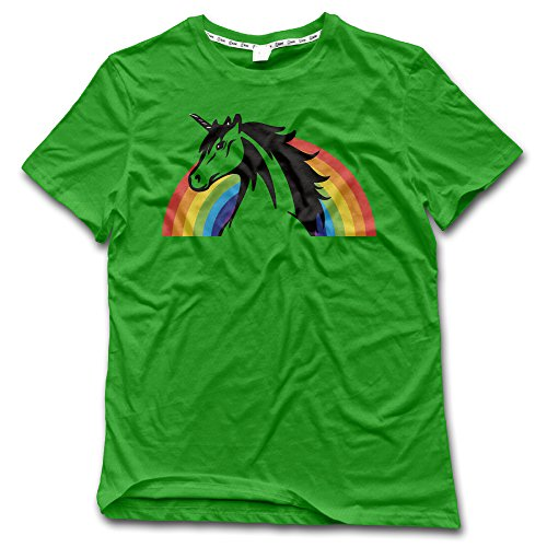 Rainbow Cartoon Unicorn Men's Short Sleeve T Shirt (Multicolor) (Make Maleficent Horns)