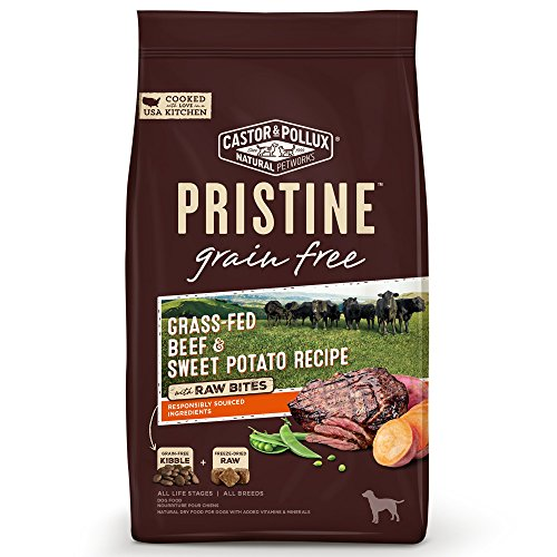 Castor & Pollux Pristine Grain Free Grass-Fed Beef and Sweet Potato Recipe with Raw Bites Dry Dog Food, 18 lbs.