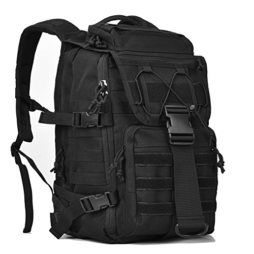 Military Tactical Backpack Army 3 Day Assault Pack Bug Out Bags Molle Laptop Backpacks Rucksacks for Outdoor Travel School 15 15.6 inch Laptops Daypack Black