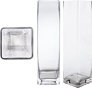 Mega Vases Square Cube 4 Inch x 16 Inch, Decorative Clear Glass Vase with Sturdy Base, Wedding Centerpieces, Flower Bouquets, Home Decor, Celebrations, Parties, Event Planning, Arts & Crafts