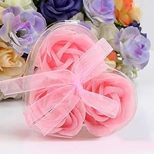 Creazy 3pcs aroma rosa de pétalos de cuerpo de baño jabón boda regalo