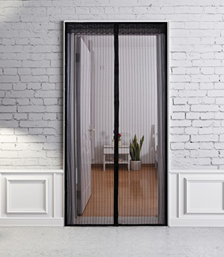 "Mesh Magnetic Screen Door - Ninepea Magnet Mosquito Screen Netting for Doors, Full Frame Invisible Velcro. Doors and Screens Openings up to 36""x83"" MAX"