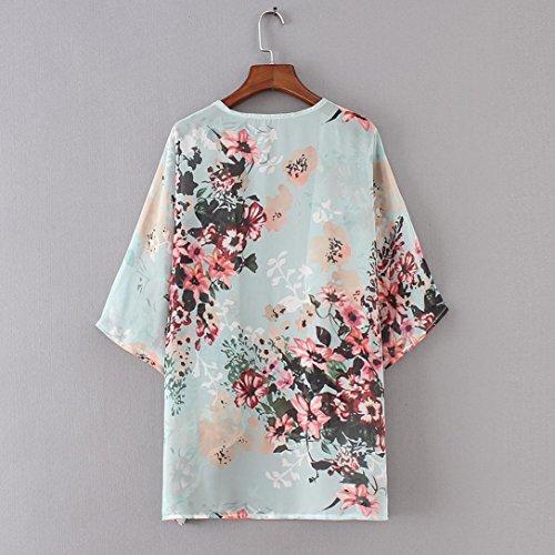 Femme Floral Châle Manches Cardigan Lâche Mousseline GreatestPAK Kimono de Demi Vert Soie en dCq4nHFxw