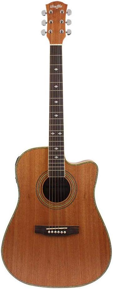 LVSSY-Guitarra Acústica Cortada Eléctrica Panel de Abeto de 41 Pulgadas Sand Billy,Placa Dorsal Sand Billy,Opcional con 5 LCD EQ Ajustable