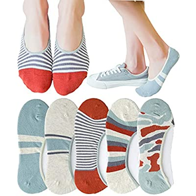 Womens 5 Pack Thin Casual No Show Socks Non Slip Flat Boat Liner Low Cut Ladies Invisible Footies Low Profile Socks at Women's Clothing store