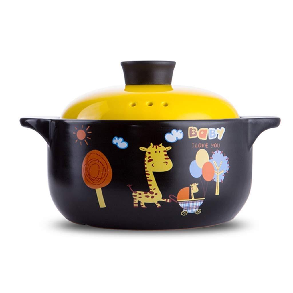 ZLDGYG Cartoon Pattern Ceramic Round Dish Casserole/Clay Pot/Earthen Pot/Ceramic Cookware Heat-Resistant Gift Box (Size : 2500ML) by ZLDGYG